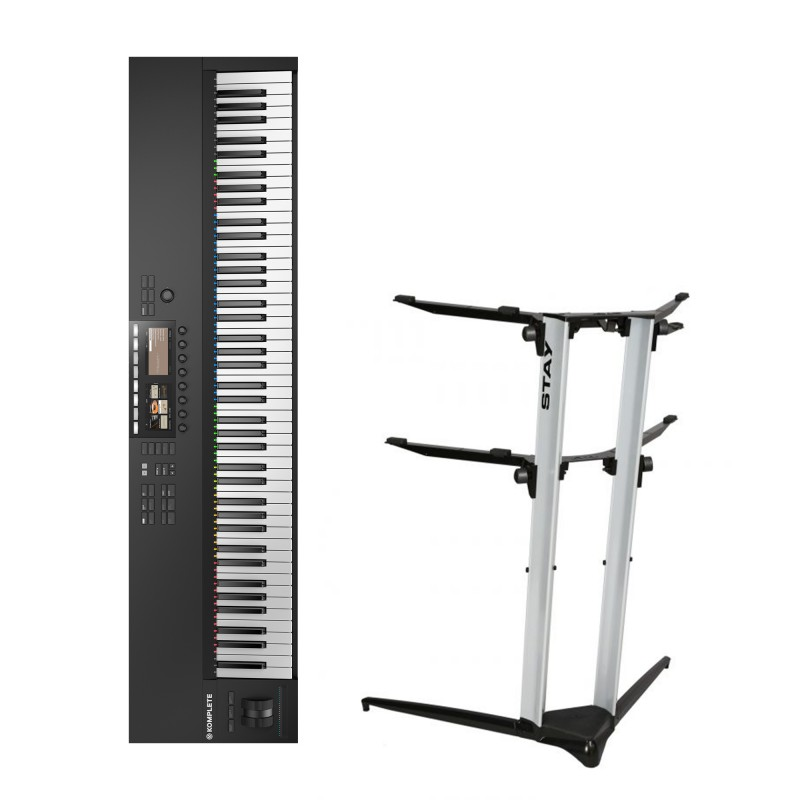 Native Instruments Komplete Kontrol S88 MK2 + Stand Piano Stand 1200/02 (Silver)